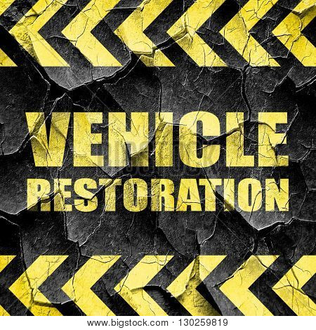 vehicle restoration, black and yellow rough hazard stripes