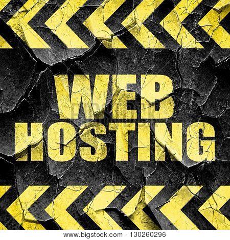 web hosting, black and yellow rough hazard stripes