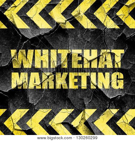 whitehat marketing, black and yellow rough hazard stripes