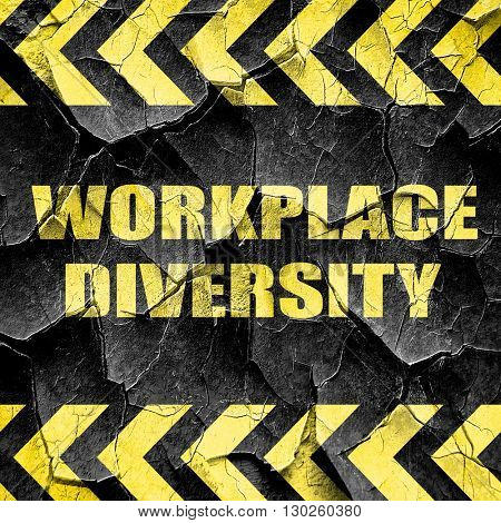 workplace diversity, black and yellow rough hazard stripes