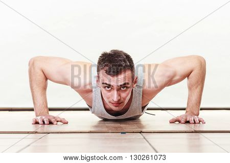Sports Man Making Pushups,
