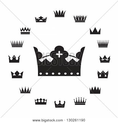 Set of Black Crowns Icons. Vector Illustration and Graphic Element.