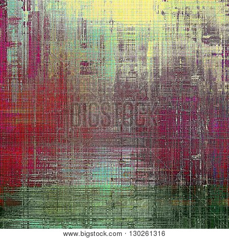 Retro texture used as abstract grunge background. Shabby backdrop with different color patterns: yellow (beige); green; gray; red (orange); pink; cyan