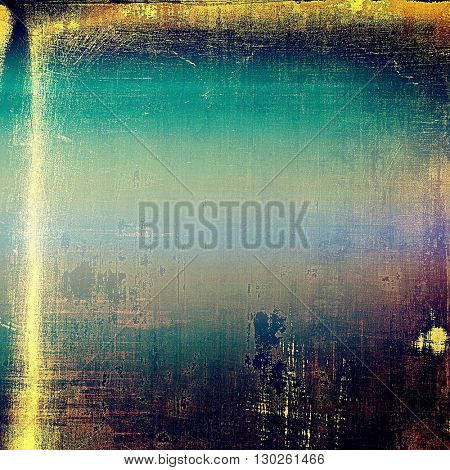 Old grunge background or aged shabby texture with different color patterns: yellow (beige); brown; blue; purple (violet); black