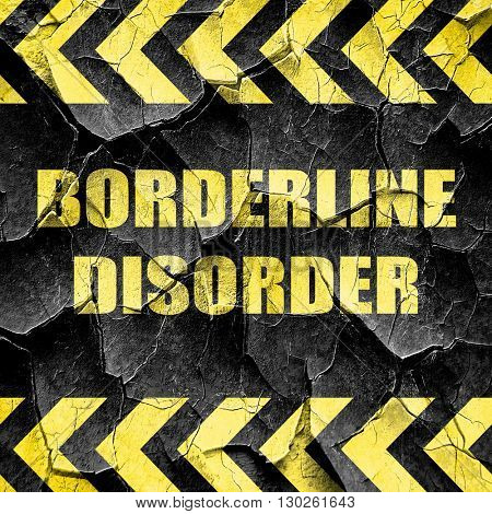Borderline sign background, black and yellow rough hazard stripe