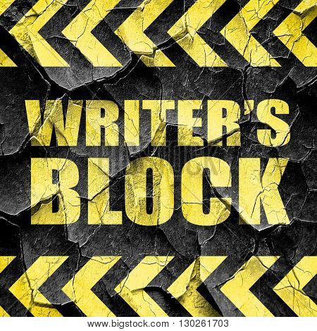writer's block, black and yellow rough hazard stripes