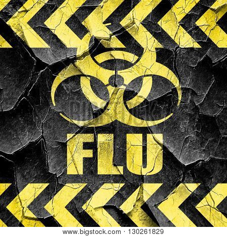 Influenza virus concept background, black and yellow rough hazar