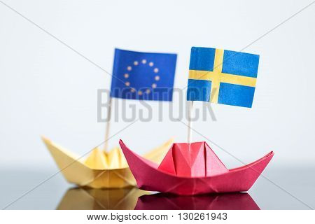 Paper Ship With Swedish And European Flag