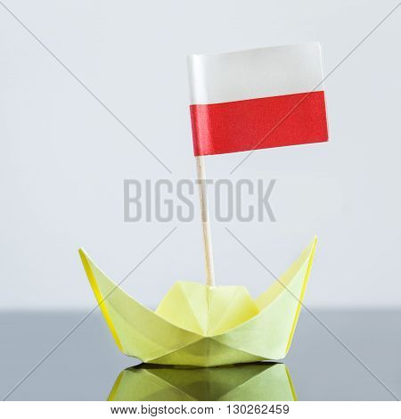 Paper Ship With Polish Flag