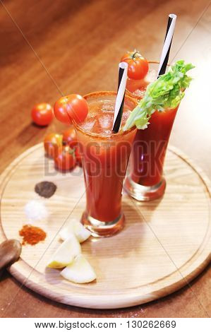 decorated bloody Mary with celery and tomato