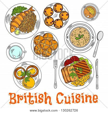 English sunday dinner icon with traditional roast beef and potatoes, fish and chips, muffin egg sandwiches and green pea soup, cups of tea served with currant scones and hot cross buns. Retro colored sketch for food design