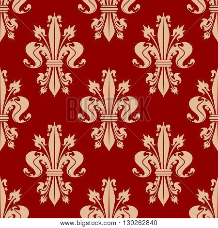 Scarlet red seamless fleur-de-lis pattern with pale peach ornamental curly leaves and spiky flower buds of royal lilies. Vintage interior and upholstery design usage