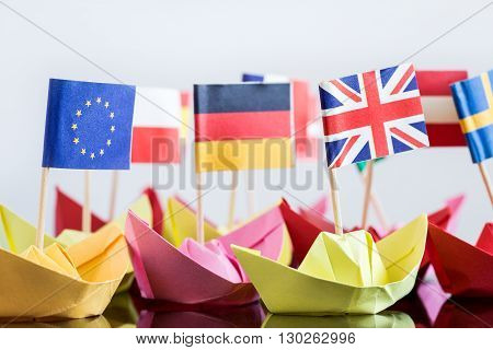 Paper Ships With Different Flags