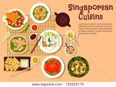 Popular singaporean seafood dishes flat symbol with chilli crab and nasi lemak rice, flatbread roti prata served with tartar sauce, fish head and mussel curries, pork rib soup and shrimp salad with fresh vegetables, herbal tea and iced black tea with milk