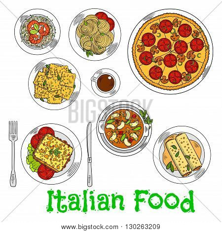 Italian vegetarian pizza icon served with spaghetti, seafood risotto and agnolotti ravioli, hot sandwich with fresh vegetables, stuffed cannelloni pasta with bolognese sauce, butter beans and cup of coffee. Retro colored sketch style