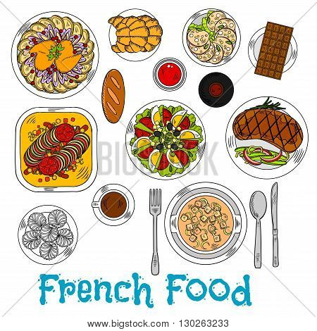 Flavorful french baked stew ratatouille sketch icon with onion cheese cream soup and duck leg with fries, grilled steak and egg tomato salad topped with cheese and olives, red wine and cup of coffee with croissants, merengue cakes and chocolate bar