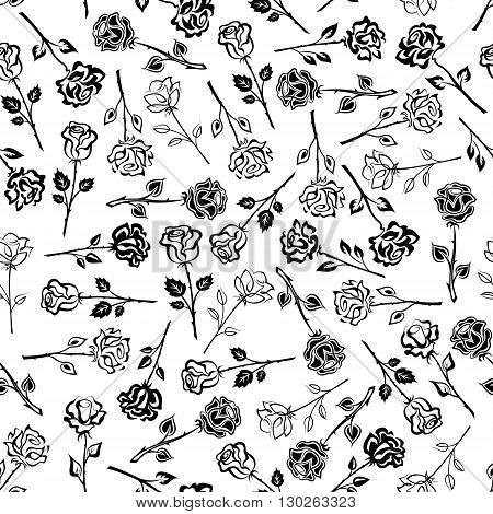 Blooming roses black and white floral seamless pattern background with silhouettes of stalks with lush flowers and leaves. May be used as fabric print or scrapbook page backdrop design