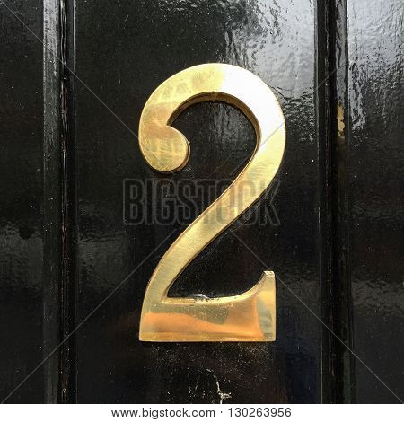 Number 2 metal house sign
