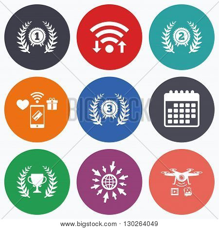 Wifi, mobile payments and drones icons. Laurel wreath award icons. Prize cup for winner signs. First, second and third place medals symbols. Calendar symbol.