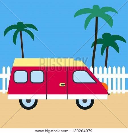 Motor home on the beach. Retro car. Motor home, sand, white fence and palm trees. Flat design