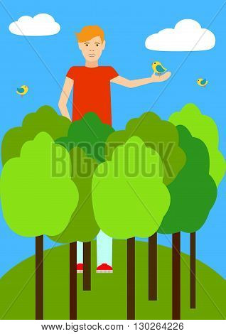 A tall man taller than trees. A tall man among the clouds and birds. The guy holds the bird in his hand