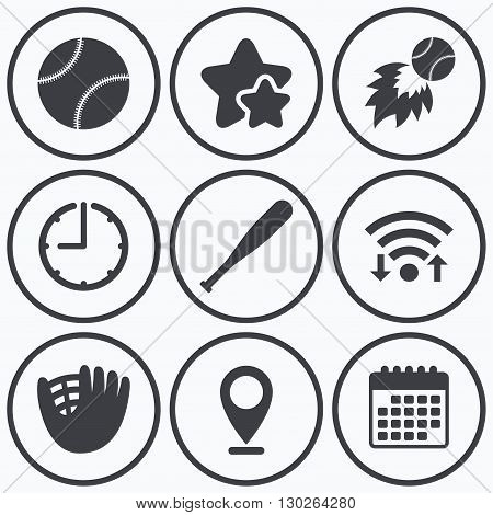 Clock, wifi and stars icons. Baseball sport icons. Ball with glove and bat signs. Fireball symbol. Calendar symbol.