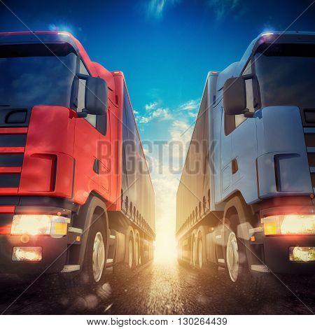 3D rendering transporter trucks on a highway