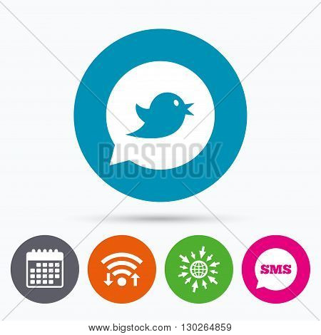 Wifi, Sms and calendar icons. Bird icon. Social media sign. Short messages speech bubble symbol. Go to web globe.
