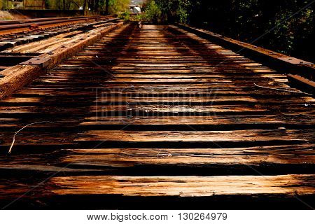 The rotting tracks of an old railway