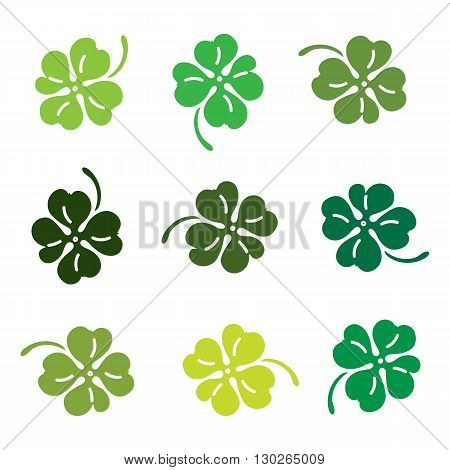 Clover 4 leaves colorfull icon set. Vector illustration.