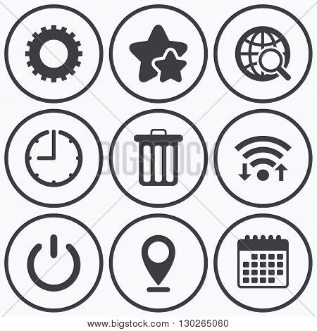 Clock, wifi and stars icons. Globe magnifier glass and cogwheel gear icons. Recycle bin delete and power sign symbols. Calendar symbol.