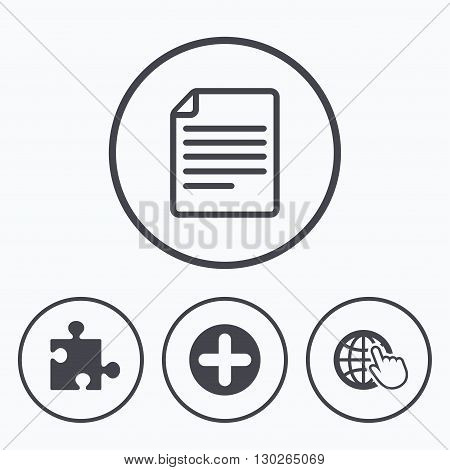 Plus add circle and puzzle piece icons. Document file and globe with hand pointer sign symbols. Icons in circles.