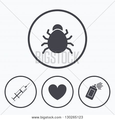 Bug and vaccine syringe injection icons. Heart and spray can sign symbols. Icons in circles.