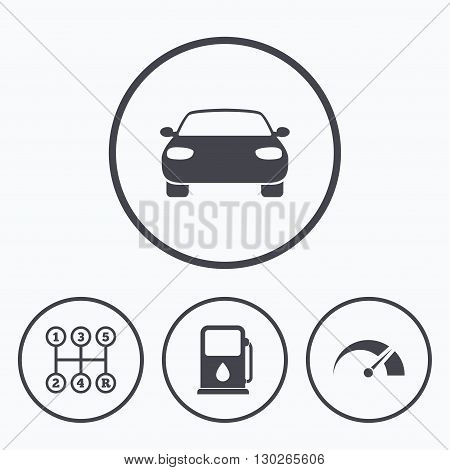 Transport icons. Car tachometer and manual transmission symbols. Petrol or Gas station sign. Icons in circles.