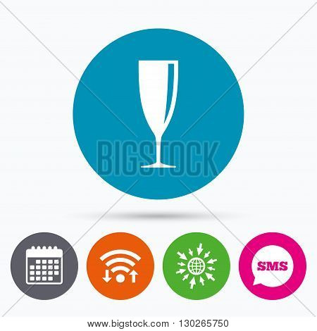 Wifi, Sms and calendar icons. Glass of champagne sign icon. Sparkling wine. Celebration or banquet alcohol drink symbol. Go to web globe.