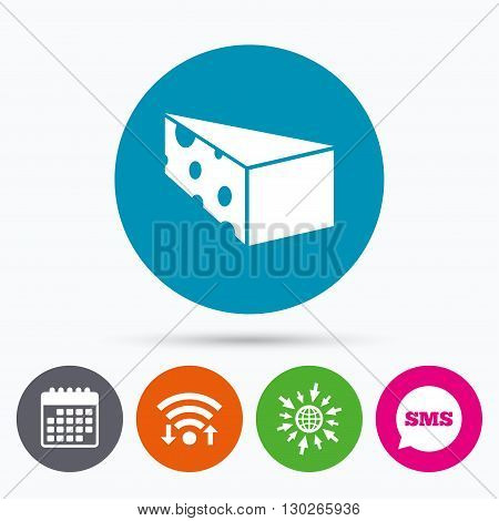 Wifi, Sms and calendar icons. Cheese sign icon. Slice of cheese symbol. Triangle cheese with holes. Go to web globe.