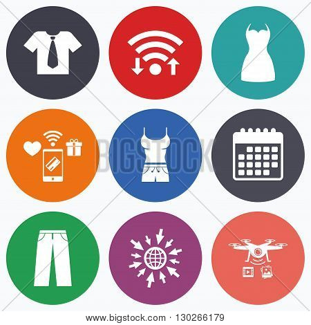 Wifi, mobile payments and drones icons. Clothes icons. T-shirt with business tie and pants signs. Women dress symbol. Calendar symbol.