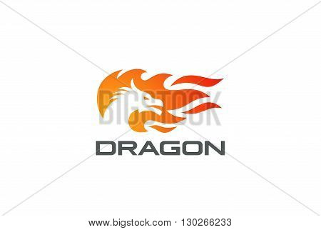 Dragon Fire Flame Logo design vector template Negative space style. Monster Strength reptile silhouette Logotype concept icon