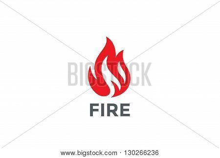 Fire Flame Logo design vector template. Bonfire Silhouette Shape Logotype concept icon