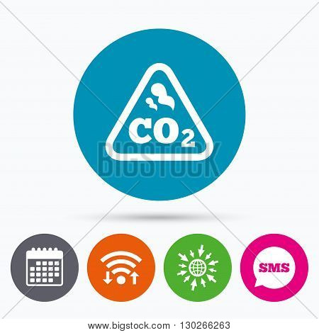 Wifi, Sms and calendar icons. CO2 carbon dioxide formula sign icon. Chemistry symbol. Go to web globe.