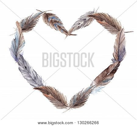 Watercolor brown gray grey blue feather heart isolated