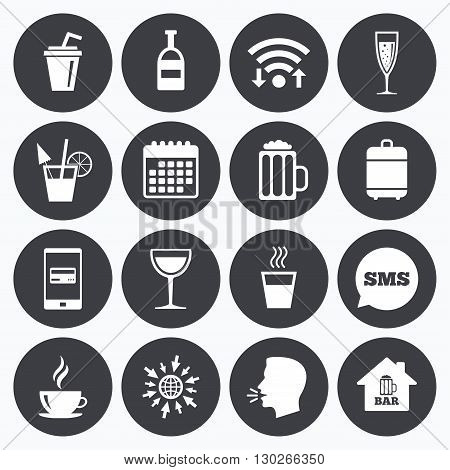 Wifi, calendar and mobile payments. Coffee, tea icons. Beer, wine and cocktail signs. Soft and alcohol drinks symbols. Sms speech bubble, go to web symbols.
