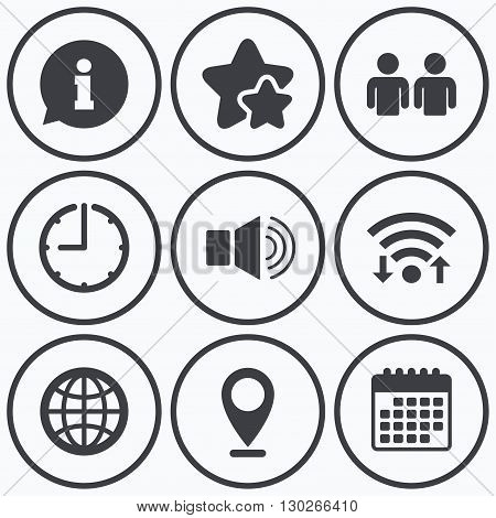 Clock, wifi and stars icons. Information sign. Group of people and speaker volume symbols. Internet globe sign. Communication icons. Calendar symbol.