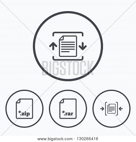 Archive file icons. Compressed zipped document signs. Data compression symbols. Icons in circles.