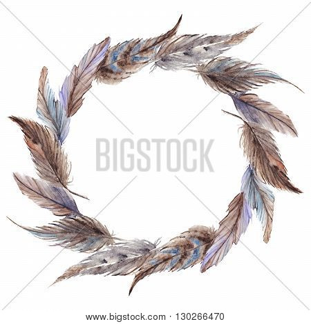 Watercolor brown gray grey feather wreath isolated