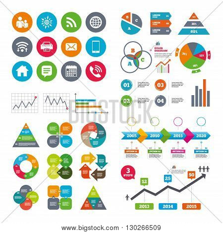 Wifi, calendar and web icons. Contact, mail icons. Communication signs. E-mail, chat message and phone call symbols. Diagram charts design.
