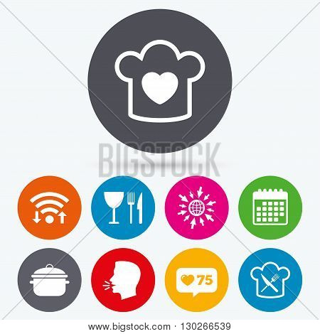 Wifi, like counter and calendar icons. Chief hat with heart and cooking pan icons. Crosswise fork and knife signs. Boil or stew food symbol. Human talk, go to web.