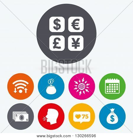 Wifi, like counter and calendar icons. Currency exchange icon. Cash money bag and wallet with coins signs. Dollar, euro, pound, yen symbols. Human talk, go to web.
