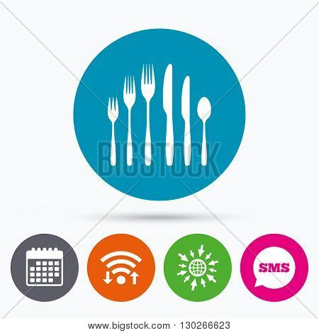 Wifi, Sms and calendar icons. Dessert fork, knife, teaspoon sign icon. Cutlery collection set symbol. Go to web globe.