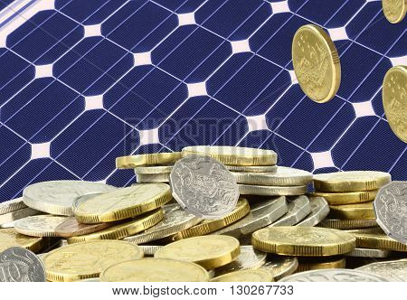 a pile of coins on solar panel